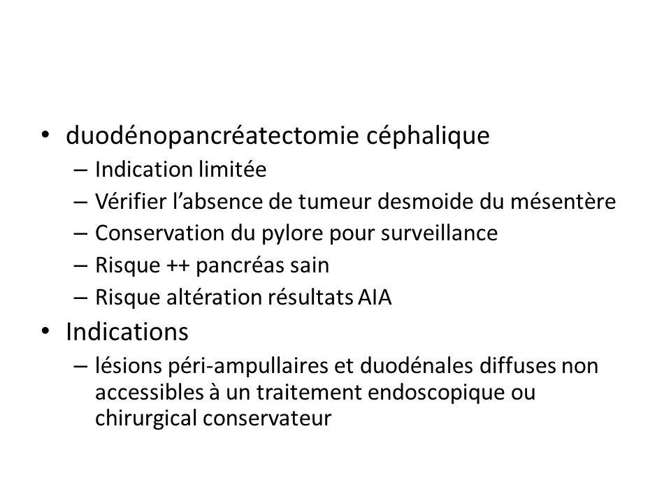 duodénopancréatectomie céphalique – Indication limitée – Vérifier labsence de tumeur desmoide du mésentère – Conservation du pylore pour surveillance