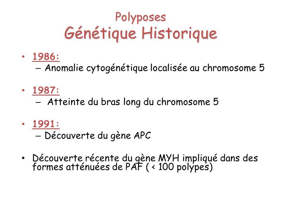 Polyposes Génétique Historique 1986: – Anomalie cytogénétique localisée au chromosome 5 1987: – Atteinte du bras long du chromosome 5 1991: – Découver