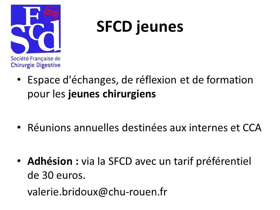 SFCD jeunes Espace d'échanges, de réflexion et de formation pour les jeunes chirurgiens Réunions annuelles destinées aux internes et CCA Adhésion : vi