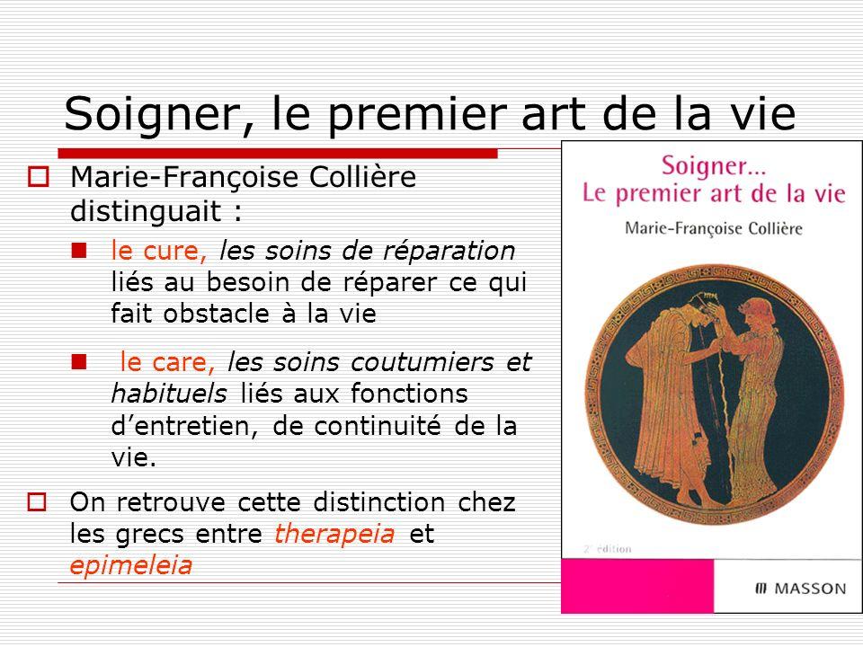 2 Soigner, le premier art de la vie Marie-Françoise Collière distinguait : le cure, les soins de réparation liés au besoin de réparer ce qui fait obst