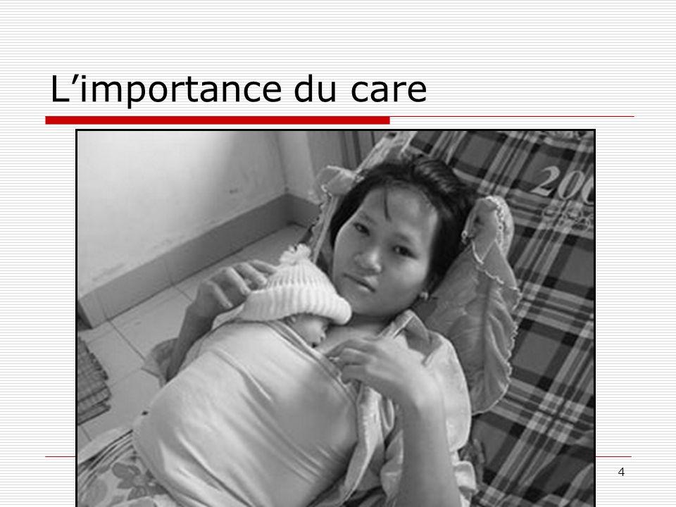 15 Les différents niveaux du travail du care Le « caring about » [se soucier de] qui implique la reconnaissance dun besoin et de la nécessité de le satisfaire ; le « taking care of » [se charger de] qui implique le fait dassumer la responsabilité de répondre au besoin identifié, le « care-giving » [accorder/donner des soins] qui recouvre la pratique du soin en elle-même le « care-receiving » [recevoir des soins] qui recouvre la réaction de celui qui fait lobjet des pratiques de soin, cette réaction étant le seul critère du fait que le processus a atteint son objectif.