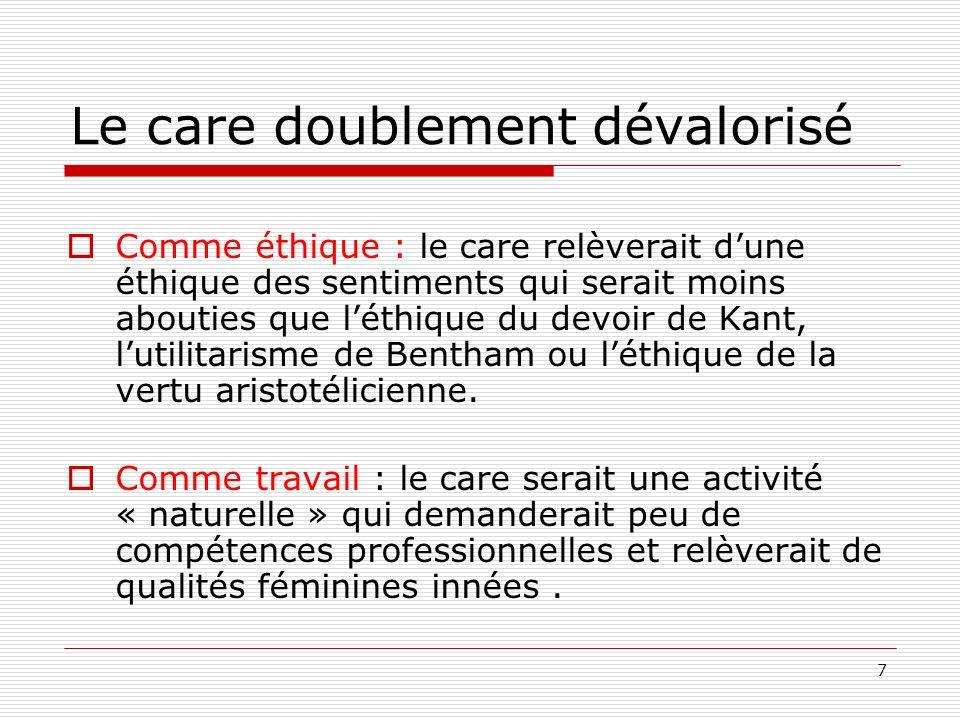 7 Le care doublement dévalorisé Comme éthique : le care relèverait dune éthique des sentiments qui serait moins abouties que léthique du devoir de Kan