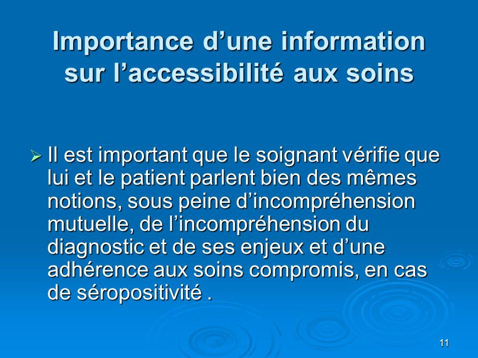 11 Importance dune information sur laccessibilité aux soins Il est important que le soignant vérifie que lui et le patient parlent bien des mêmes noti