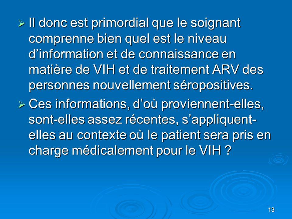 13 Il donc est primordial que le soignant comprenne bien quel est le niveau dinformation et de connaissance en matière de VIH et de traitement ARV des
