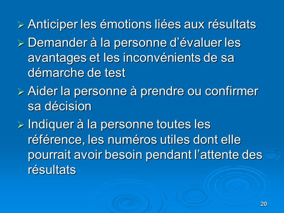 20 Anticiper les émotions liées aux résultats Anticiper les émotions liées aux résultats Demander à la personne dévaluer les avantages et les inconvén