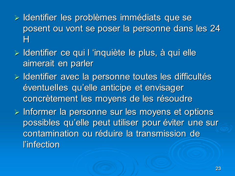 23 Identifier les problèmes immédiats que se posent ou vont se poser la personne dans les 24 H Identifier les problèmes immédiats que se posent ou von