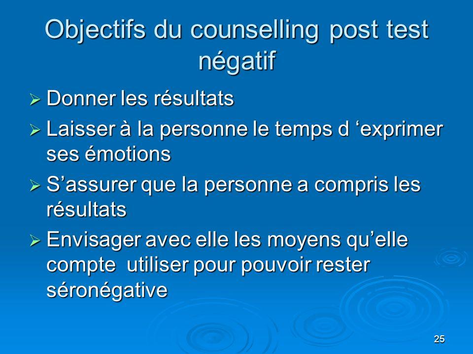 25 Objectifs du counselling post test négatif Donner les résultats Donner les résultats Laisser à la personne le temps d exprimer ses émotions Laisser