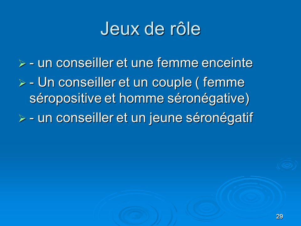 29 Jeux de rôle - un conseiller et une femme enceinte - un conseiller et une femme enceinte - Un conseiller et un couple ( femme séropositive et homme