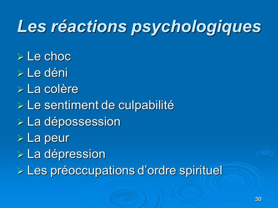 30 Les réactions psychologiques Le choc Le choc Le déni Le déni La colère La colère Le sentiment de culpabilité Le sentiment de culpabilité La déposse