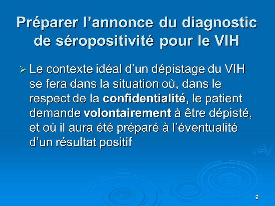 9 Préparer lannonce du diagnostic de séropositivité pour le VIH Le contexte idéal dun dépistage du VIH se fera dans la situation où, dans le respect d