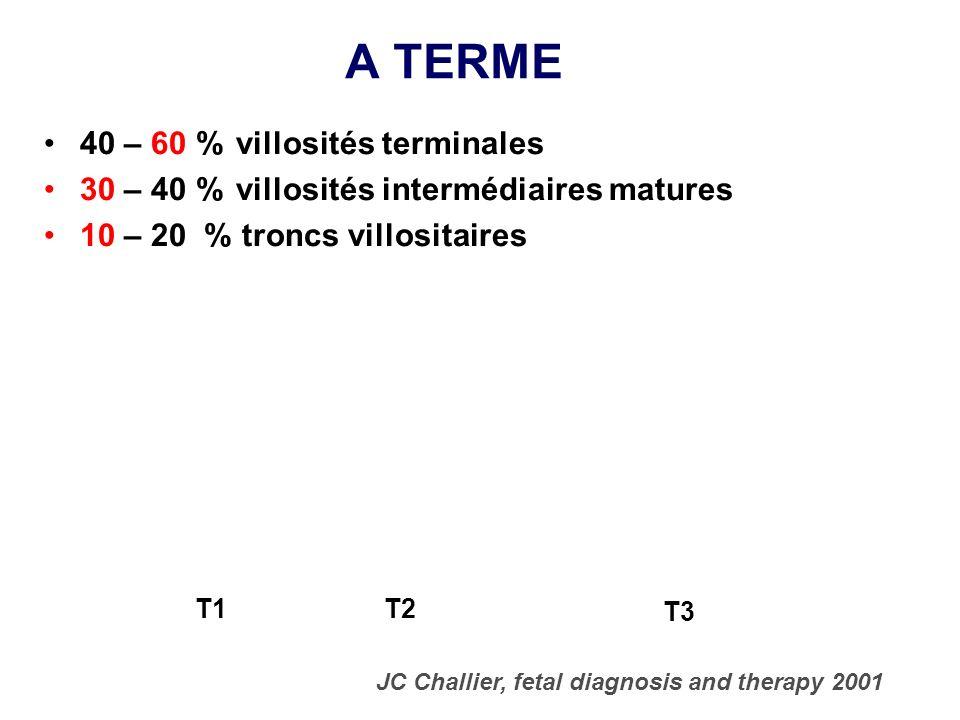 A TERME 40 – 60 % villosités terminales 30 – 40 % villosités intermédiaires matures 10 – 20 % troncs villositaires JC Challier, fetal diagnosis and th