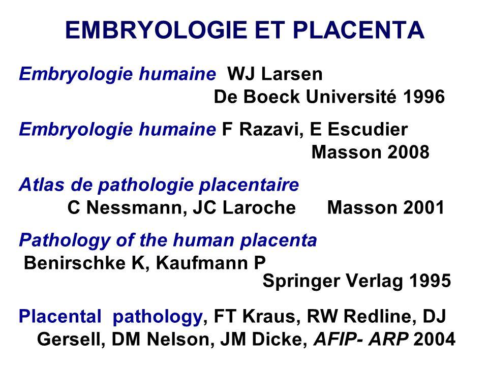 EMBRYOLOGIE ET PLACENTA Embryologie humaine WJ Larsen De Boeck Université 1996 Embryologie humaine F Razavi, E Escudier Masson 2008 Atlas de pathologi
