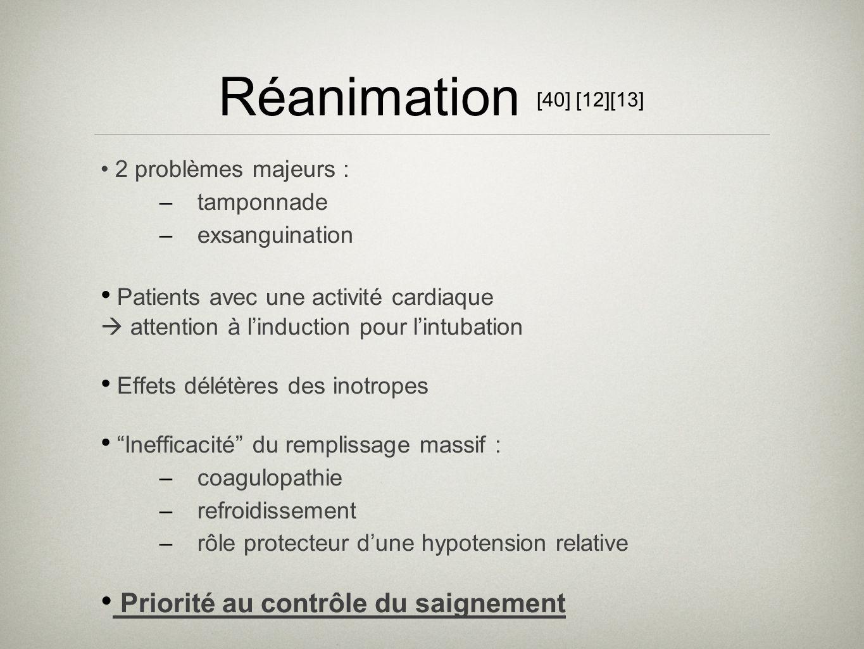 Réanimation [40] [12][13] 2 problèmes majeurs : –tamponnade –exsanguination Patients avec une activité cardiaque attention à linduction pour lintubati
