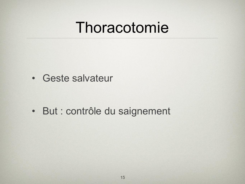 15 Thoracotomie Geste salvateur But : contrôle du saignement