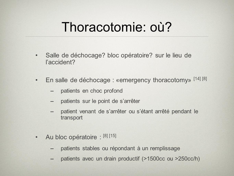 Thoracotomie: où? Salle de déchocage? bloc opératoire? sur le lieu de laccident? En salle de déchocage : «emergency thoracotomy» [14] [8] –patients en