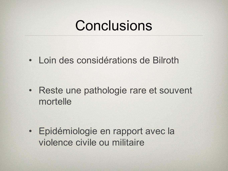 Conclusions Loin des considérations de Bilroth Reste une pathologie rare et souvent mortelle Epidémiologie en rapport avec la violence civile ou milit