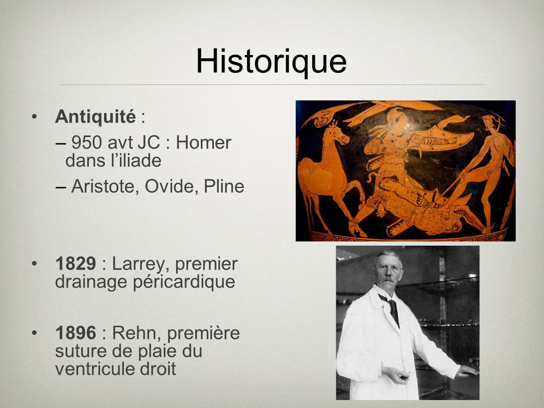 Historique Antiquité : – 950 avt JC : Homer dans liliade – Aristote, Ovide, Pline 1829 : Larrey, premier drainage péricardique 1896 : Rehn, première s
