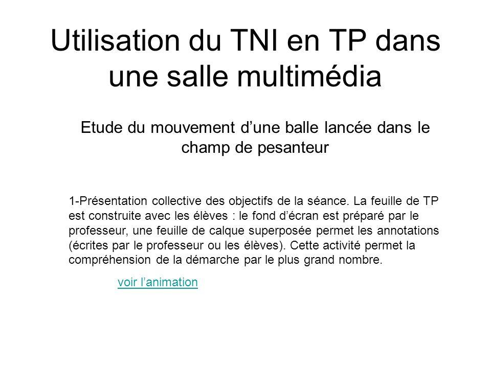 Utilisation du TNI en TP dans une salle multimédia Etude du mouvement dune balle lancée dans le champ de pesanteur 1-Présentation collective des objec