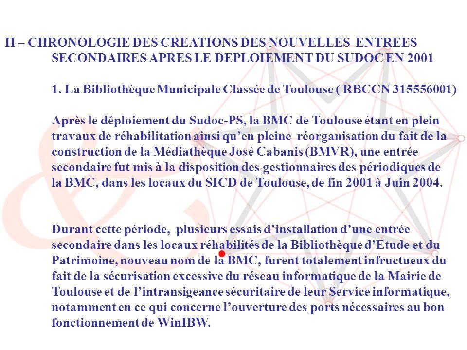 4 II – CHRONOLOGIE DES CREATIONS DES NOUVELLES ENTREES SECONDAIRES APRES LE DEPLOIEMENT DU SUDOC EN 2001 1.