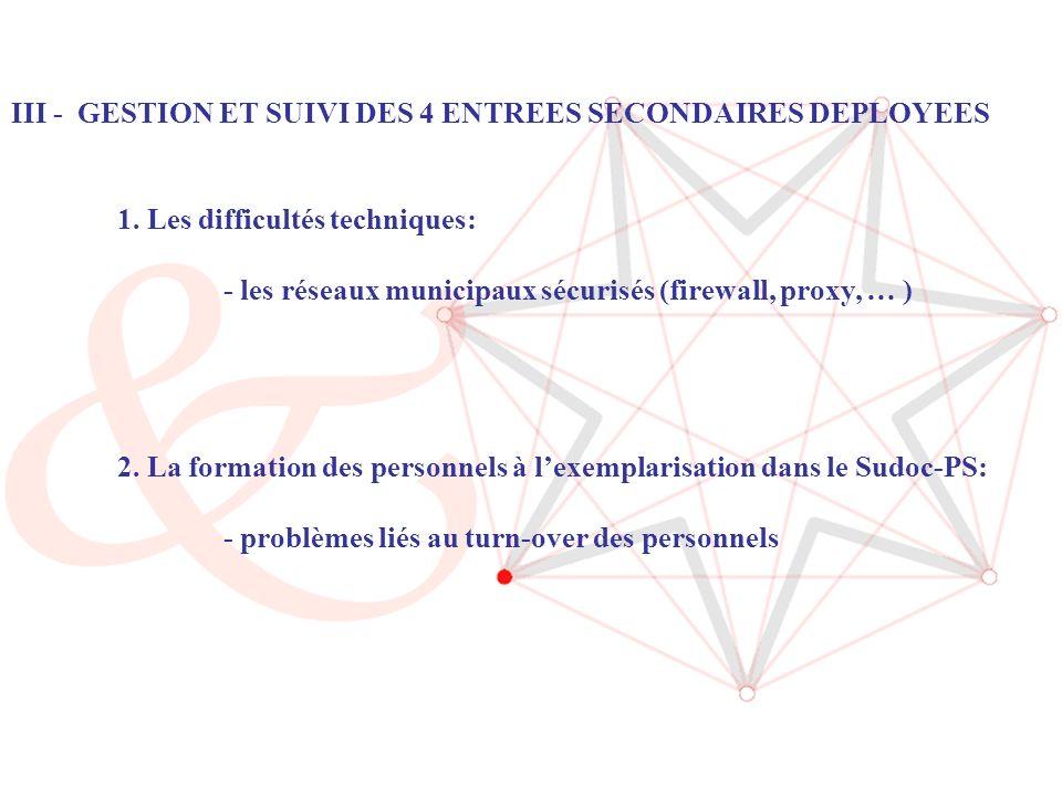 ABES / Journée CR Sudoc-PS (14/06/2006) 7 III - GESTION ET SUIVI DES 4 ENTREES SECONDAIRES DEPLOYEES 1. Les difficultés techniques: - les réseaux muni