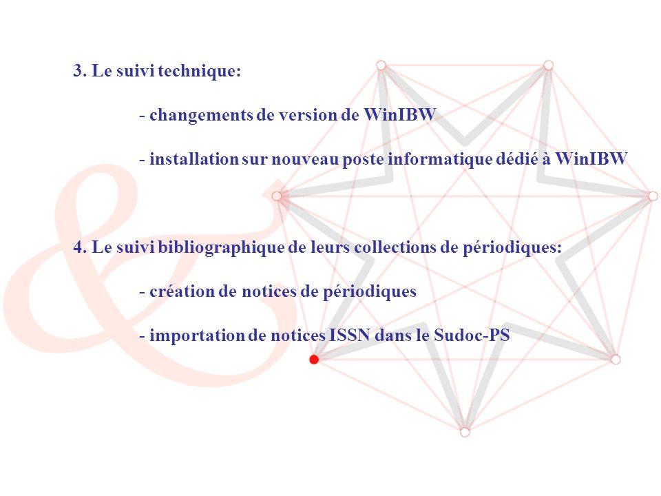 ABES / Journée CR Sudoc-PS (14/06/2006) 8 3. Le suivi technique: - changements de version de WinIBW - installation sur nouveau poste informatique dédi