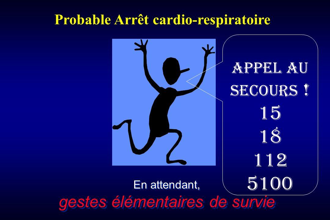 gestes élémentaires de survie En attendant, gestes élémentaires de survie Probable Arrêt cardio-respiratoire Appel au secours ! 15 18 112 5100