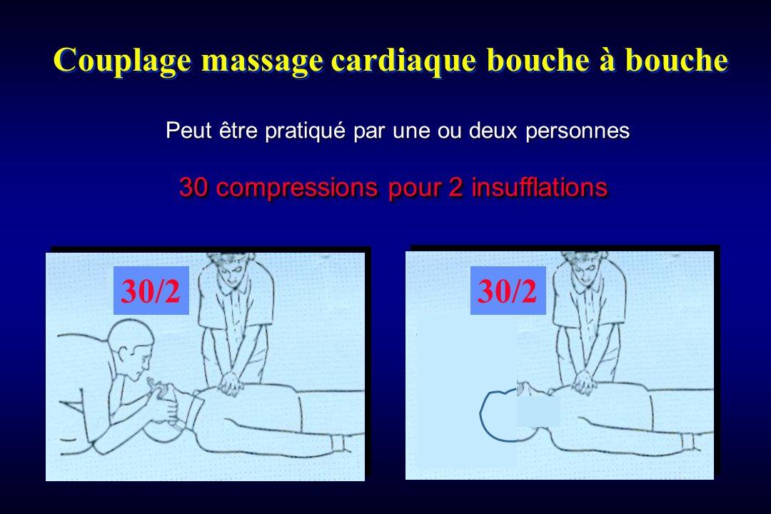 Couplage massage cardiaque bouche à bouche 30 compressions pour 2 insufflations Peut être pratiqué par une ou deux personnes 30/2