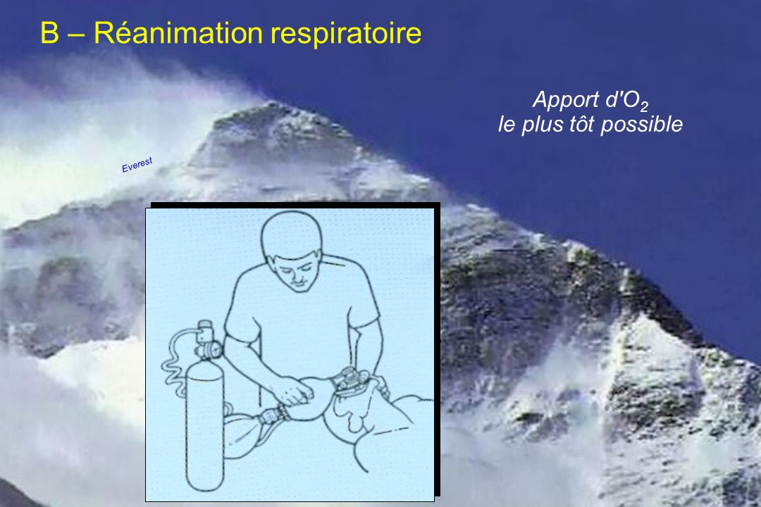 Apport d'O 2 le plus tôt possible B – Réanimation respiratoire Everest
