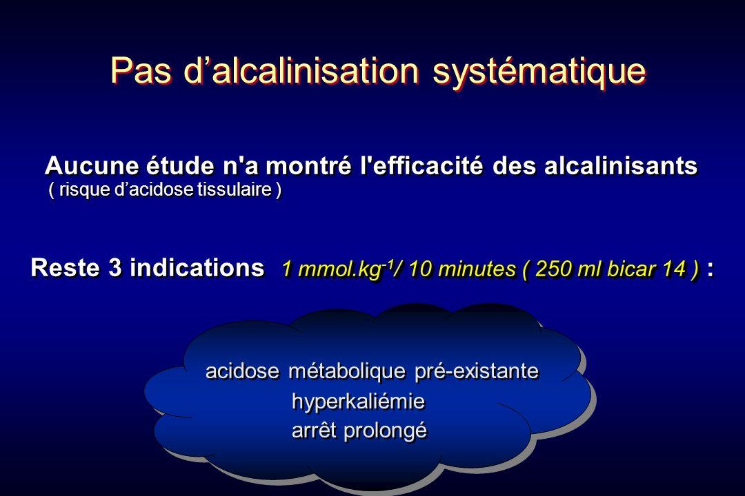 Aucune étude n'a montré l'efficacité des alcalinisants ( risque dacidose tissulaire ) 1 mmol.kg -1 / 10 minutes ( 250 ml bicar 14 ) Reste 3 indication