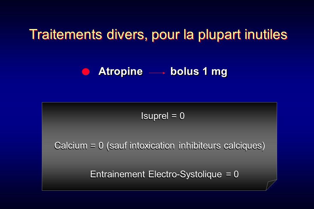 Atropine bolus 1 mg Isuprel = 0 Calcium = 0 (sauf intoxication inhibiteurs calciques) Entrainement Electro-Systolique = 0 Isuprel = 0 Calcium = 0 (sau