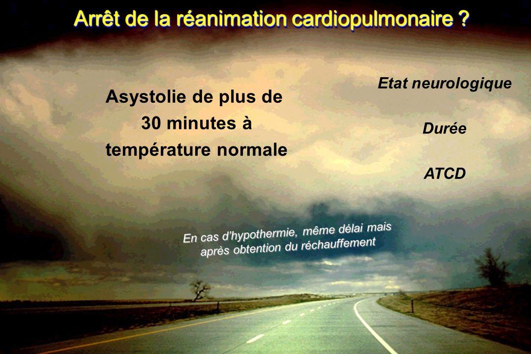 Arrêt de la réanimation cardiopulmonaire ? Asystolie de plus de 30 minutes à température normale Etat neurologique Durée ATCD En cas dhypothermie, mêm
