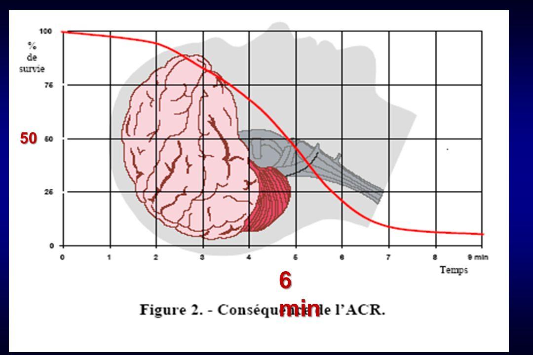 Pronostic de l arrêt cardiaque en fonction de l étiologie DiagnosticSuccès RCPSortie de lhôpital nn (%) n (%) Infarctus (96)43 (45)13 (14) Asystolie (10) 7 (70) 4 (40,0) FV-TV (35)33 (94)19 (54) Embolie pulm.(24) 5 (21) 2 (8) Choc (33) 15 (45) 1 (3) Neurologie (12) 9 (75) 3 (25) Divers (43) 33 (77) 12 (28)