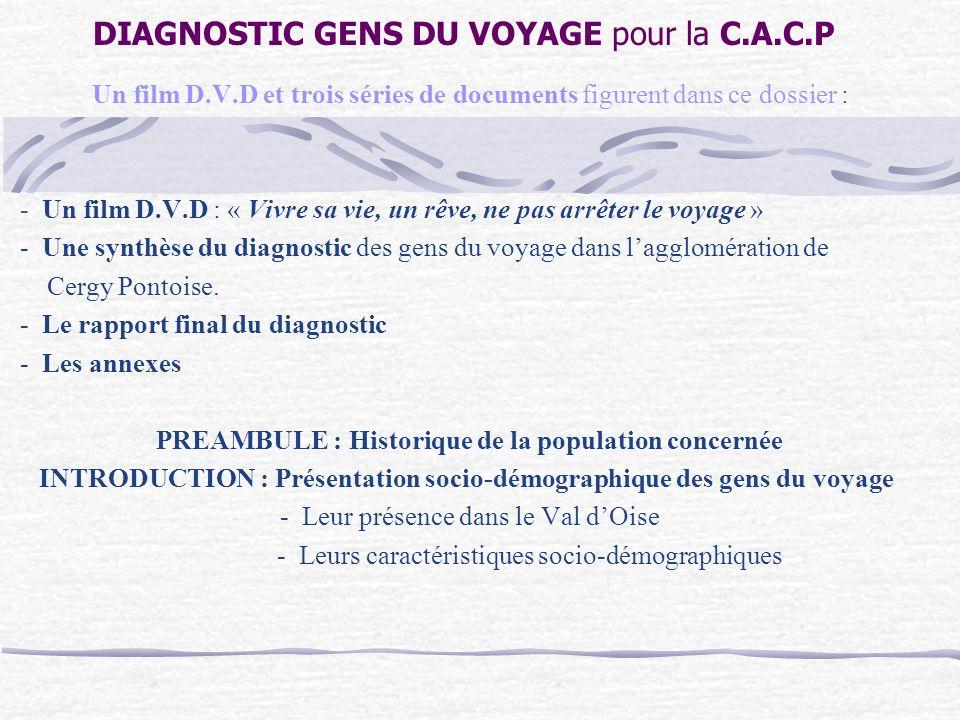 DIAGNOSTIC GENS DU VOYAGE pour la C.A.C.P Un film D.V.D et trois séries de documents figurent dans ce dossier : - Un film D.V.D : « Vivre sa vie, un rêve, ne pas arrêter le voyage » - Une synthèse du diagnostic des gens du voyage dans lagglomération de Cergy Pontoise.