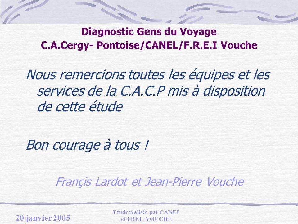 20 janvier 2005 Etude réalisée par CANEL et FREI - VOUCHE Diagnostic Gens du Voyage C.A.Cergy- Pontoise/CANEL/F.R.E.I Vouche Nous remercions toutes les équipes et les services de la C.A.C.P mis à disposition de cette étude Bon courage à tous .