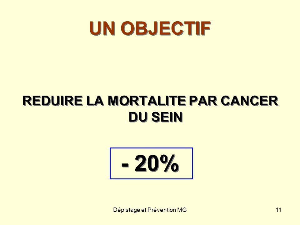 Dépistage et Prévention MG11 UN OBJECTIF REDUIRE LA MORTALITE PAR CANCER DU SEIN - 20% REDUIRE LA MORTALITE PAR CANCER DU SEIN - 20%