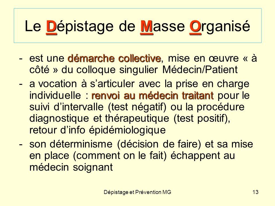 Dépistage et Prévention MG13 DMO Le Dépistage de Masse Organisé démarche collective -est une démarche collective, mise en œuvre « à côté » du colloque