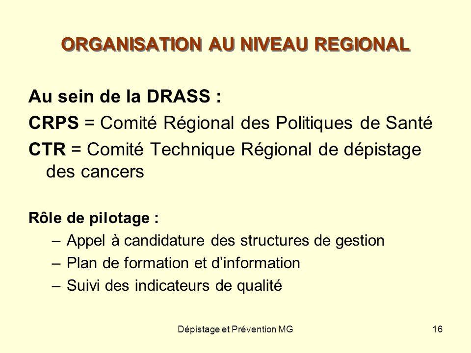 Dépistage et Prévention MG16 ORGANISATION AU NIVEAU REGIONAL Au sein de la DRASS : CRPS = Comité Régional des Politiques de Santé CTR = Comité Techniq