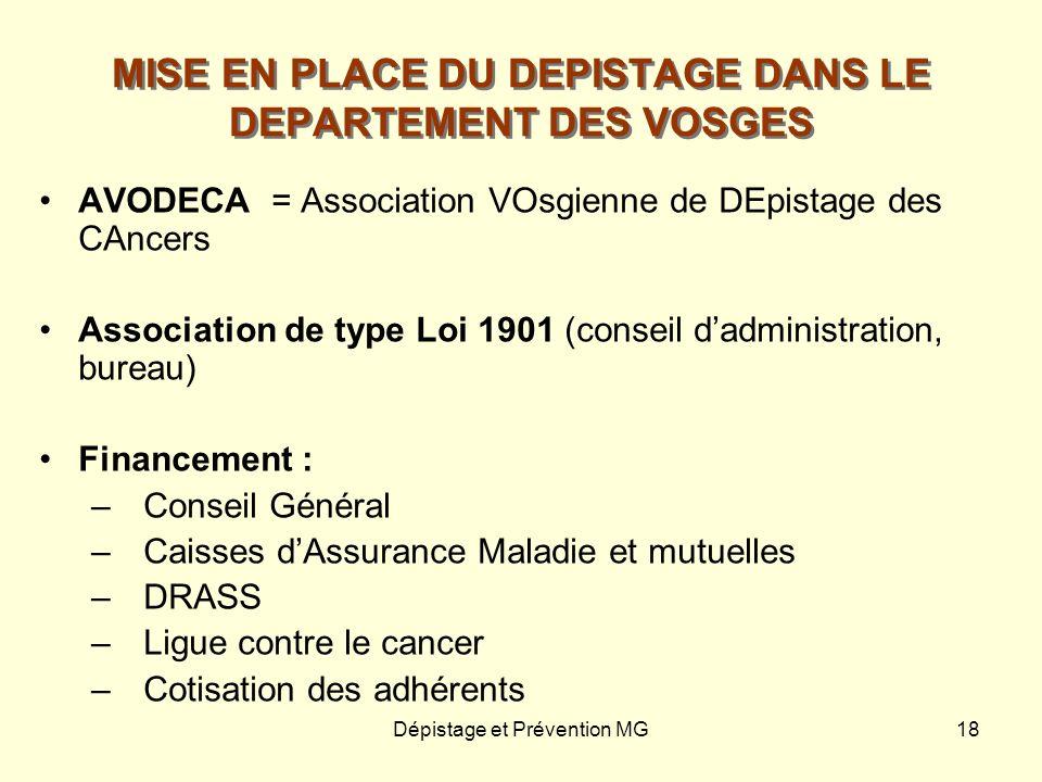 Dépistage et Prévention MG18 MISE EN PLACE DU DEPISTAGE DANS LE DEPARTEMENT DES VOSGES AVODECA = Association VOsgienne de DEpistage des CAncers Associ