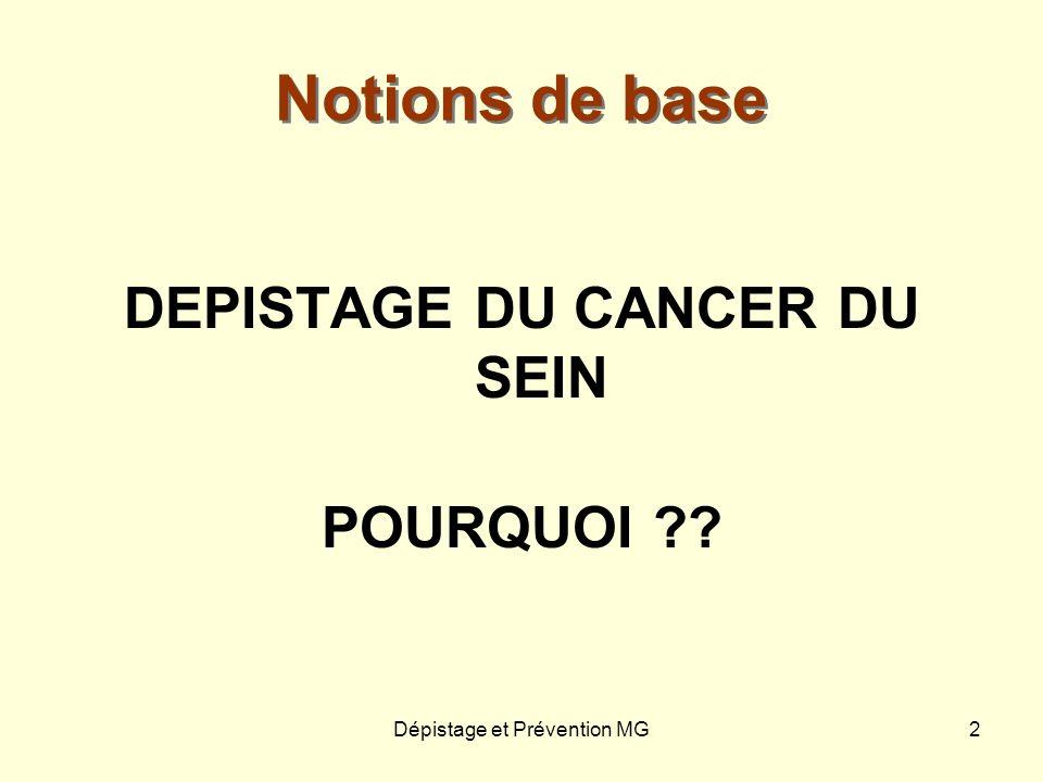 Dépistage et Prévention MG2 Notions de base DEPISTAGE DU CANCER DU SEIN POURQUOI ??