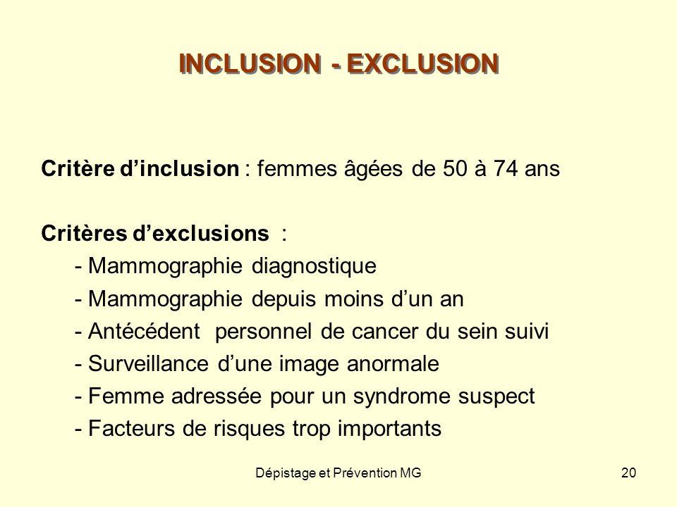 Dépistage et Prévention MG20 INCLUSION - EXCLUSION Critère dinclusion : femmes âgées de 50 à 74 ans Critères dexclusions : - Mammographie diagnostique