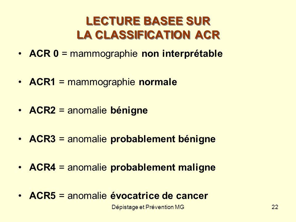 Dépistage et Prévention MG22 LECTURE BASEE SUR LA CLASSIFICATION ACR ACR 0 = mammographie non interprétable ACR1 = mammographie normale ACR2 = anomali