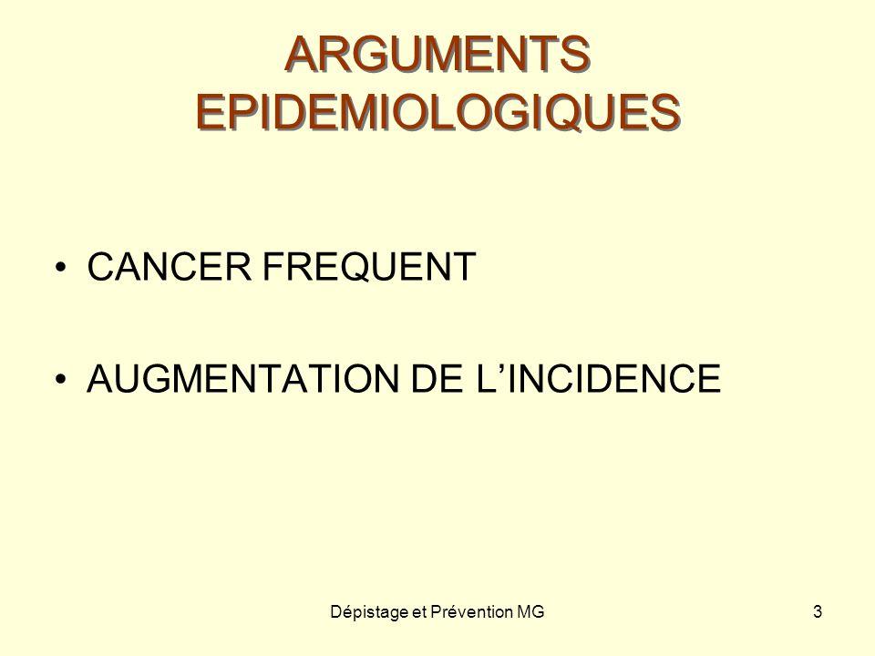 Dépistage et Prévention MG3 ARGUMENTS EPIDEMIOLOGIQUES CANCER FREQUENT AUGMENTATION DE LINCIDENCE