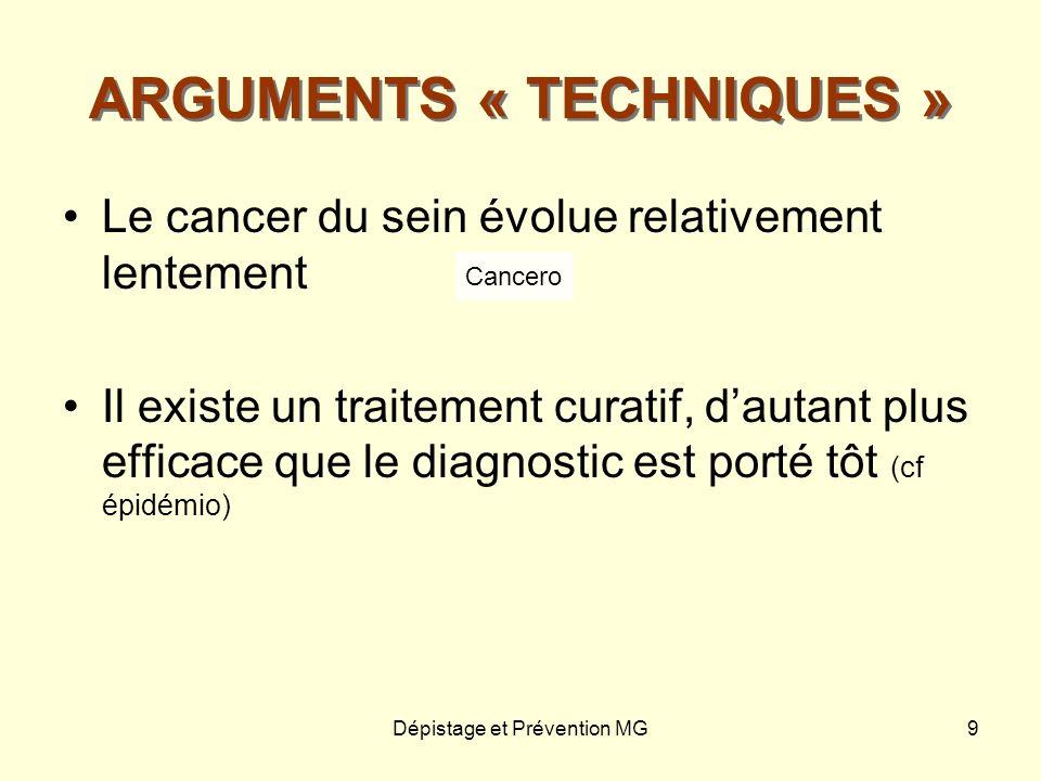 Dépistage et Prévention MG9 ARGUMENTS « TECHNIQUES » Le cancer du sein évolue relativement lentement Il existe un traitement curatif, dautant plus eff