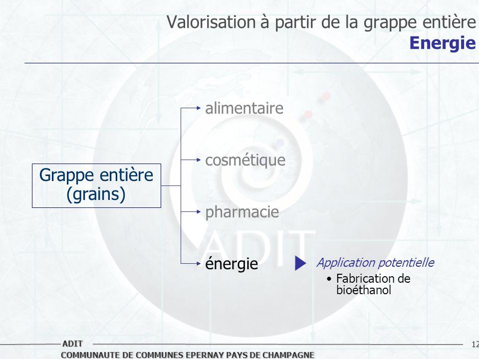12 COMMUNAUTE DE COMMUNES EPERNAY PAYS DE CHAMPAGNE ADIT Valorisation à partir de la grappe entière Energie Grappe entière (grains) alimentaire cosmét