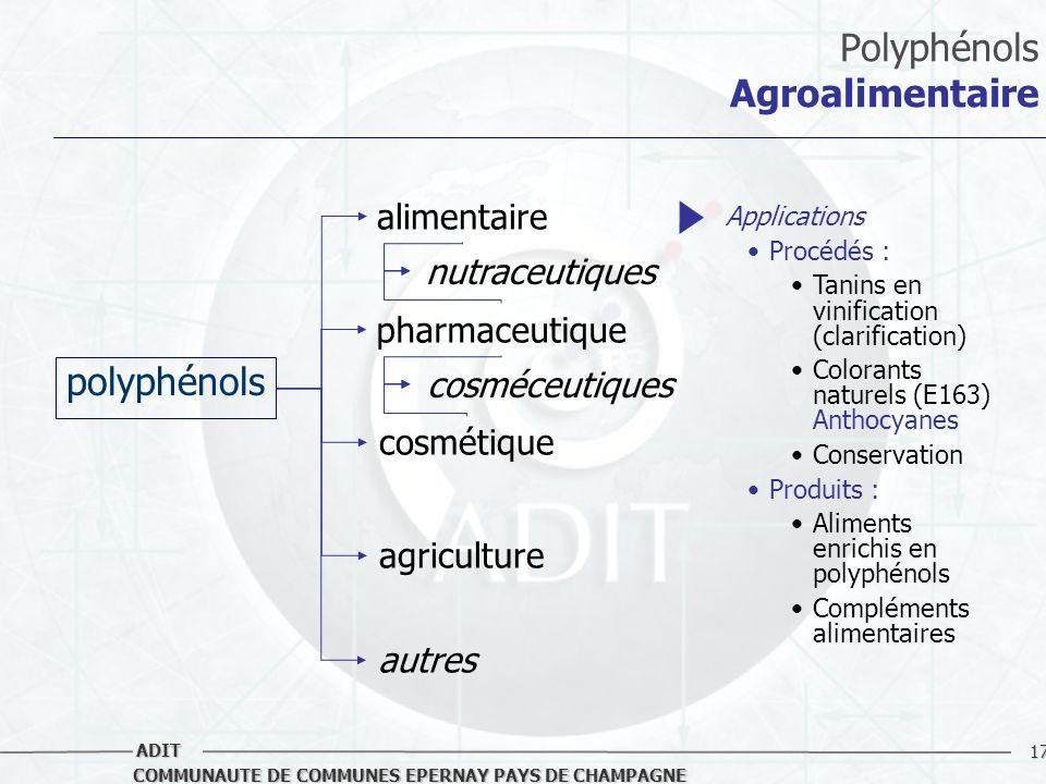 17 COMMUNAUTE DE COMMUNES EPERNAY PAYS DE CHAMPAGNE ADIT Polyphénols Agroalimentaire polyphénols alimentaire pharmaceutique cosmétique agriculture aut