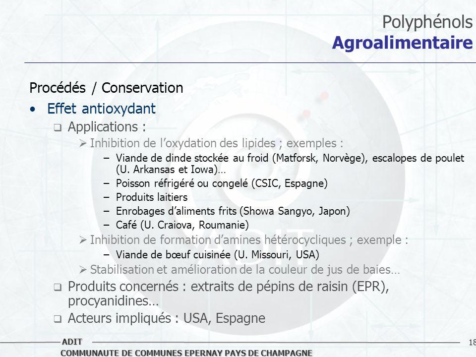 18 COMMUNAUTE DE COMMUNES EPERNAY PAYS DE CHAMPAGNE ADIT Polyphénols Agroalimentaire Procédés / Conservation Effet antioxydant Applications : Inhibiti