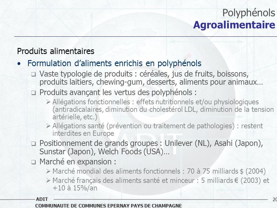 20 COMMUNAUTE DE COMMUNES EPERNAY PAYS DE CHAMPAGNE ADIT Polyphénols Agroalimentaire Produits alimentaires Formulation daliments enrichis en polyphéno