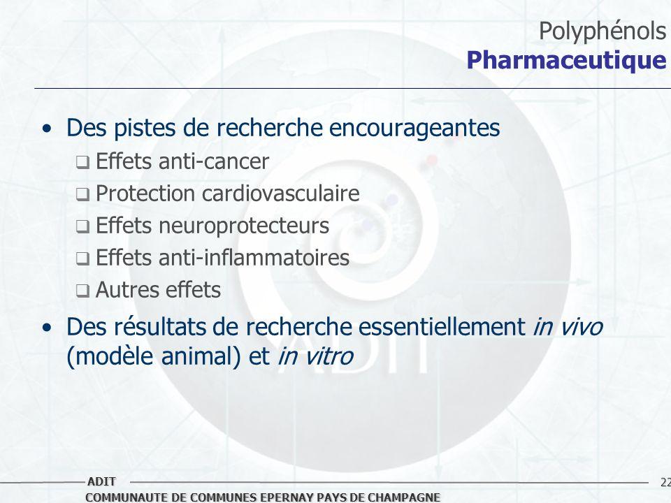 22 COMMUNAUTE DE COMMUNES EPERNAY PAYS DE CHAMPAGNE ADIT Polyphénols Pharmaceutique Des pistes de recherche encourageantes Effets anti-cancer Protecti
