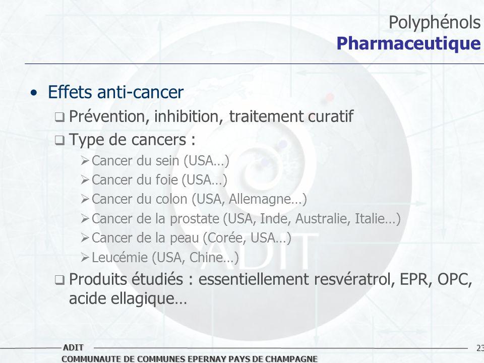 23 COMMUNAUTE DE COMMUNES EPERNAY PAYS DE CHAMPAGNE ADIT Polyphénols Pharmaceutique Effets anti-cancer Prévention, inhibition, traitement curatif Type