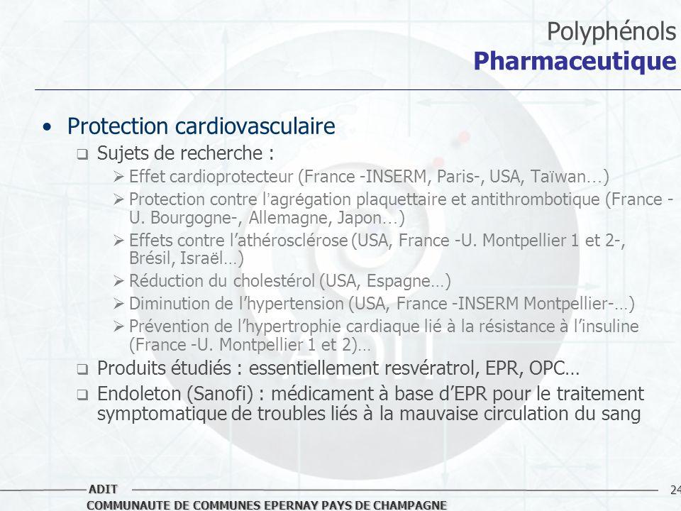 24 COMMUNAUTE DE COMMUNES EPERNAY PAYS DE CHAMPAGNE ADIT Polyphénols Pharmaceutique Protection cardiovasculaire Sujets de recherche : Effet cardioprot